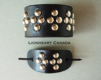 Leather Hair Barrette & Bracelet Set
