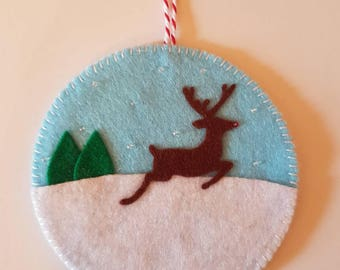 Reindeer Christmas decoration set, felt reindeer, reindeer scene, reindeer ornament, Christmas tree decoration, Christmas tree ornament