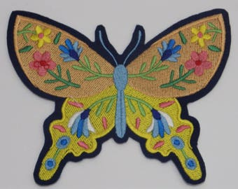 Butterfly Iron-on Patch. Embroidered Patch. Sew-On Patch.