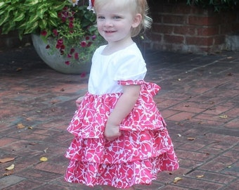 "Rose Dress and Top PDF Sewing Pattern.  Sizes 0-3 Months - 12, 18"" doll"