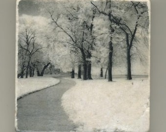 Chicago Lakefront Path in Infrared - Original Coaster