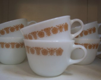Pyrex Gold Butterfly Coffee Mugs Set of 6