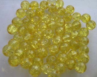 8 round glass Crackle effect 8 mm - (PV4-36) beads
