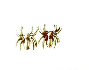 Spider Stud Earrings silver spider arachnid post earrings Handmade Gift