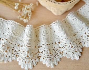white lace trim, cotton lace, crocheted lace trim, guipure lace trim, cotton lace trim by the yrd, lace border