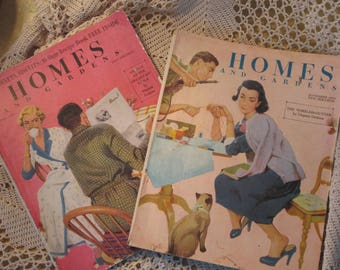 Lot of 2 Vintage Homes and Gardens Magazines, April and November 1953