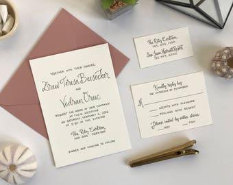Elegant Letterpress Wedding Invitation . Simple Letterpress Wedding Invite . Letterpressed Wedding Invitation . Letterpress Printed Invite