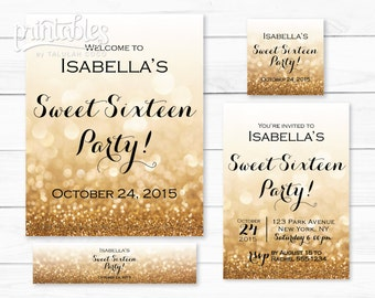 Printable Sweet Sixteen Invitations, Gold Glitter Sweet 16 Party Decor, Quinceanera Invitation, Favor Tags, Water Bottle Labels, Party Sign