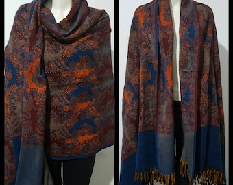 Real wool winter scarf/himalayan made blue/maroon COLOUR paisley print/flora DOUBLE sided oversized scarf/shawl/wrap/blanket,High quality