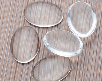 100pcs 25x35mm Oval Glass Cabochons,Crystal Clear Glass Dome Oval