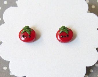 Tomato Earrings, Stud Earrings,  Vegetable Earrings, Gardener Gift, Cute Earrings, Food Earrings, Small Red Earrings, Hypoallergenic Posts