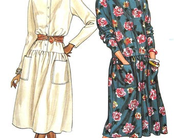 Butterick 3459 Vintage 1980s drop-waist, button-front dress Fast & Easy sewing pattern