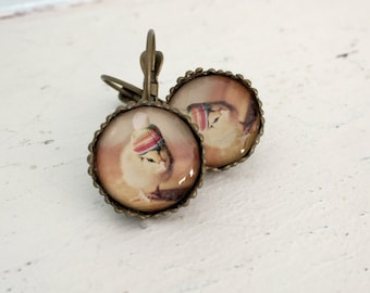 Antique Bronze Chicken Earrings Chick in A Rainbow Pom Pom Hat Leverback Baby Animal Photography