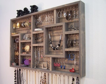 Handmade Wall Jewelry Organizer, Display Case, Earring Holder