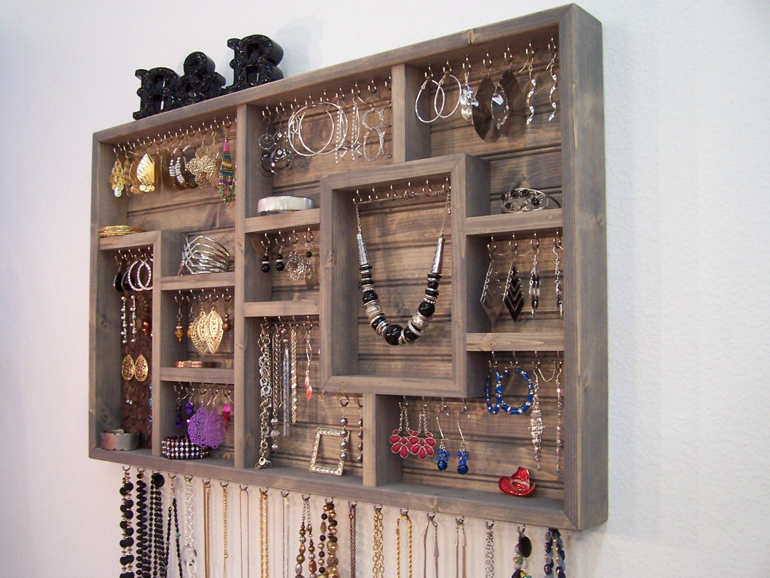 Handmade Wall Jewelry Organizer Display Case Earring Holder
