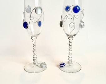 Beaded Champagne Flutes-Set of 2, Wedding Flutes, Wedding, Anniversary, Bridal Shower Gift, Beaded Stemware, Barware, Drinks and Barware