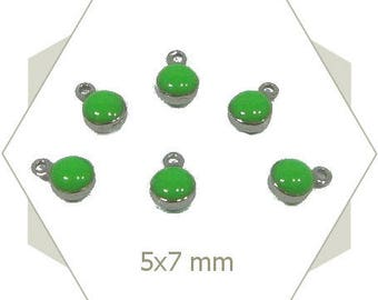 10 mini green enameled steel AC62 charms