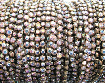 Swarovski AB Crystal Rhinestone  Chain, Raw Brass,  24pp (3mm)/(4mm) stones, priced per foot