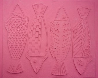 "The FOUR FISHES Intaglio Flexible Rubber Impressing and Stamping Mat, Size 7"" by 9"" but Can Be Cut to Create Individual Fish for Stamping"