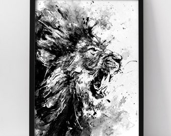 Lion Acrylic Painting Print Roar Art Animal Angry Black And White For Him Wild Life Cat