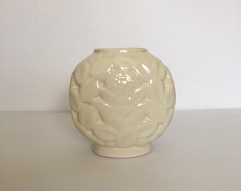 Vintage Vase by Haeger Pottery Neutral Decorating Ivory White Floral Textured Planter Bowl