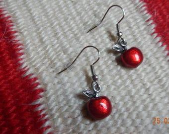 Silver-tone Enamel Red Apple Dangle Earrings