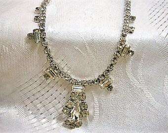 Vintage Rhinestone Choker Necklacek, Clear Rhinestone Choker, 1950s , Bridal Necklace, Wedding Jewelry, Clear Rhinestones