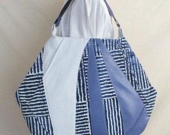 Sky Bye Cotton Batik and Faux Leather Shoulder Tote Bag