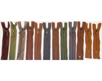 Set 12 tone Brown #4 zippers