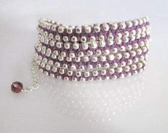 Silver Purple Bracelet Women Purple Bracelet Silver Wrap Bracelet Women's Bracelets Silver and Purple Gift for Her Bracelet for Women