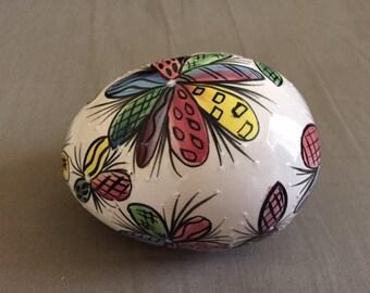 Vintage Hand Painted Large Ceramic Egg