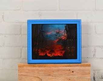 "8x10"" Picture Frame in 1x1 Decorative Bumpy Style with Vintage Cobalt Blue Finish - IN STOCK - Same Day Shipping - 8 x 10"" Photo Frame Blue"