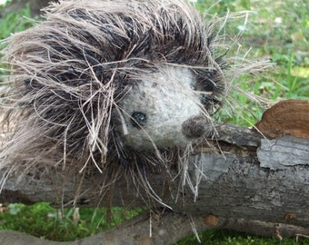 Hedgehog plush toy, hedgehog toy, hand knit and felted stuffed hedgehog, hedgehog stuffed animal, woodland nursery decor, made to order