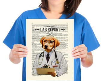 "Fine Art Print: -  ""Lab Report"" - 11"" x 14"" print, whimsical dog print, Veterinary gift,  Doctor gift, Medical intern gift, Labrador Lover"