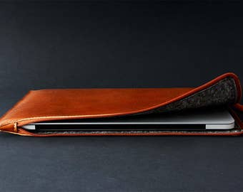"NEW 13"" Pro MacBook leather zip folio MacBook 13 Pro Retina 13 Air zip case fully lined laptop leather sleeve slim simple premium leather"