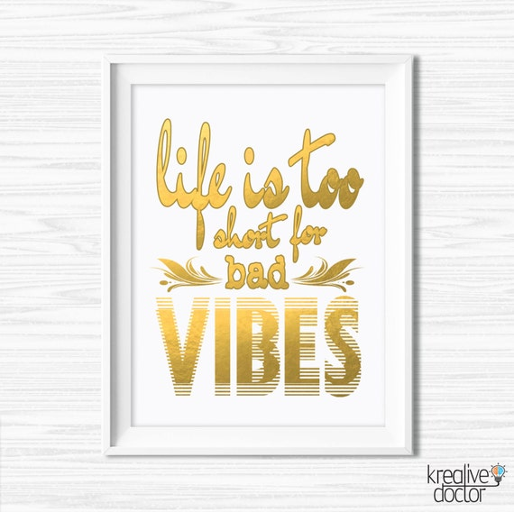 Good Vibes Only Motivational Wall Decor Fashion Poster Gold