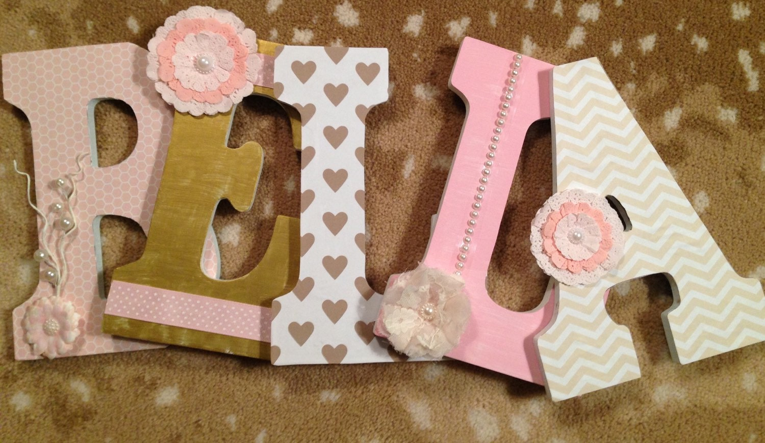 Gold Hanging Letters Letters For Nursery Girls Room Letters Custom Wood Letters