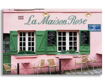 Paris Photo on Canvas, La Maison Rose Cafe, Montmartre, Fine Art Gallery Wrapped Canvas, Large Wall Art, French Home Decor