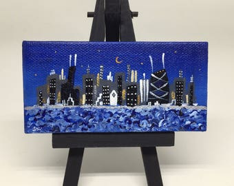 miniature Chicago skyline painting, at night, with easel, 2x4 canvas, ooak Joe Smigielski, Joe World, choice of easel color, ready to ship