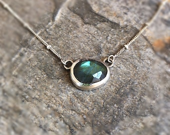 Labradorite ans Silver Stacking Necklace, Sterling Silver Gemstone Layering Necklace
