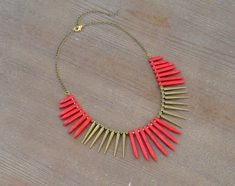 CLOSEOUT Red Turquoise Spike Necklace - Red Bead Statement Necklace - Red Stone Necklace - Chunky Red Bib Necklace