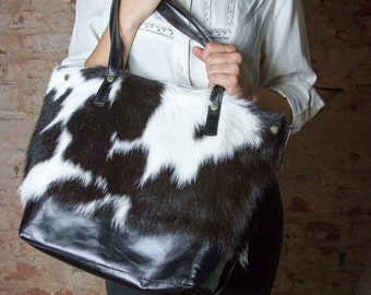 Black and white leather tote, tote handbag, cowhide leahter tote, plus size tote, cowhide bag, gift for her, cowhide