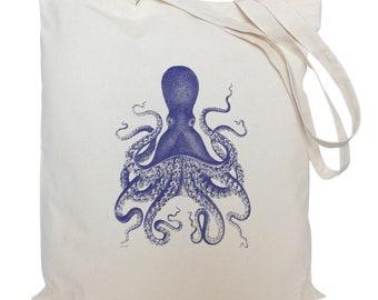 Tote bag/ drawstring bag/ cotton bag/ material shopping bag/ cotton bag/ Blue octopus/ nautical/ sea/ market bag