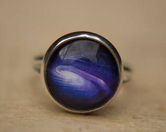 Space Ring, Galaxy Ring, Purple Ring, Solar System Ring, Universe Jewelry, Cosmos, Adjustable, Glass Dome Ring, Statement Ring, Night Sky