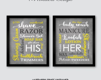 His Her Bathroom Wall Art Prints Set of (2) 5x7 Or 8x10  Sizes, Gray Yellow White, Modern Home Apartment Bathroom Decor - Unframed