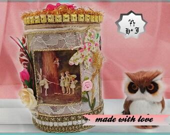 "Little Princess gift. Magic gift box ""The Flower fairies"". Wonderful memory box. Fantasy creatures. Keepsake  box Inspiration storage."