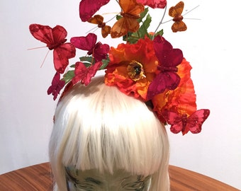 Red and Orange Butterfly headpiece