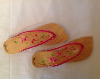 Hand painted wood sandals