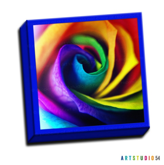 "Rainbow Rose Flower Garden-  6""x6"" to 36""x36"" - 1.25"" Deep - Gallery Wrapped Canvas - artstudio54"