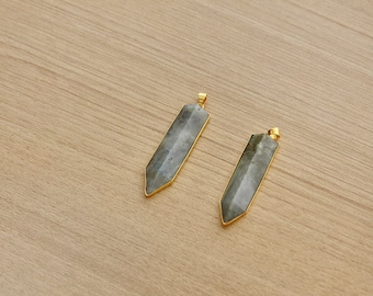 1 pcs of Labradorite Arrow Gold Plated Pendant - Gemstone Pendants